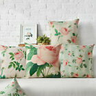 Home Decorative French Provincial Pink Rose Linen Cushion Cover