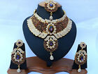 Indian Bollywood Style Fashion Gold Plated Bridal Jewelry Necklace Set Style 3