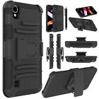 For LG X Style/Tribute HD Shockproof Hybrid Belt Clip Kickstand Hard Case Cover