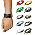 Fashion Men`s Leather Weave Button Band Wrist Hand Wrap Chain Bracelet Bangles  image