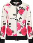 Womens Floral Rose Bomber Jacket Ladies Print Zip Up Long Sleeve Crew Neck 8-14