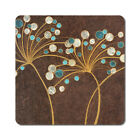 Teal Bubble Flowers - Oversized Rubber Coasters Set of 4 or 6