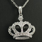 A1-P462 Fashion Rhinestone Crown Pendant Necklace 18KGP  CZ Crystal
