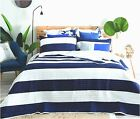 Quilted Modern Stripe Navy Blue White Bedspread Quilt Set Includes Pillow shams