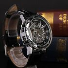 New Classic Men's Gold Dial Skeleton Black Leather Mechanical Sport Wrist Watch