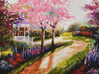 "12"" ORIGINAL IMPRESSION WATERCOLOR LANDSCAPE PAINTING: JAPANESE PARK CHERRY VIEW"