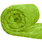 Faux Fur Mink Blanket Sofa Bed Throw Single Double & King Sizes - Lime