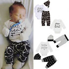 3PCS Newborn Baby Girl Boys Outfits Clothes Romper Shirt Tops+Long Pants+Hat Set