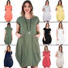 Womens Scoop Neck Cap Sleeve Front Pocket Plain Cotton Dress Size 10 14 16 20