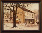 WINTER REVERENCE by Bonnie Mohr 15x19 FRAMED PRINT Cattle Cow Barn Snow PICTURE