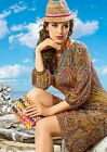 DRESS SUMMER CASUAL LOUNGE 3/4 SLEEVE MADE IN EUROPE NATURAL PRINTED S M L 2XL