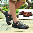 New Men's Vintage Closed Toe Sandal Shoes Geniune Leather Dad's Casual Shoes