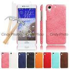 For HTC Desire 728 728G Glass Film Crocodile PU Leather Case Cover Tempered New