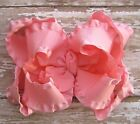 Large Double Layered Satin Double Ruffle Boutique Hair Bow in Pink