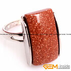 Natural 13x20mm Gemstone Fashion Jewelry Silver Plated Finger Rings For Women