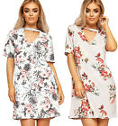 Womens Choker V Neck Mini Dress Top Ladies Short Sleeve Floral Print Stretch New