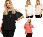 Womens Pleated Lined Necklace Top Ladies Cut Out Cold Shoulder Frill Detail 8-14