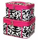 Women's Damask Print Make-up Travel Cosmetic Train Cases - 2 Piece Set!