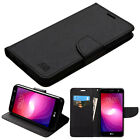 for LG X Power 2 ( US701 ) BLACK WALLET LEATHER SKIN  COVER CASE + GLASS SCREEN