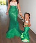 UK Womens Adult Mermaid Tail Full Skirt Party Maxi Fancy Dress Cosplay Costume