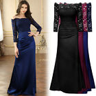Women's Long Lace Formal Evening Prom Party Gowns Bridesmaids Sexy Full Dress