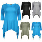 New Women Ladies Plus Size Scoop Neck Tunic Flared Ladies Long Top Size 14-32