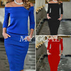New Women Off Shoulder Long Sleeve Cocktail Formal Evening Midi Bodycon Dress