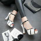 Fashion Women's White Black Open Toe Ankle Straps Dress Thick High Heel Sandals