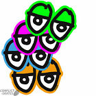 "KROOKED ""Eyes Diecut"" Skateboard Surf Sticker 15cm Blue Pink Green Orange GONZ"