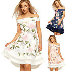 Womens Flared Mini Skater Dress Ladies Cold Off Shoulder Sleeveless Floral Print