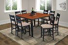 """M&D FURNITURE 54"""" SQUARE COUNTER HEIGHT TABLE DINING ROOM SET IN BLACK & CHERRY"""