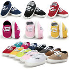 US Newborn Baby Girl Boy Canvas Crib Shoes Soft Sole Prewalker Non-slip Trainers