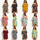 Womens Summer Beach Off Shoulder Boat Neck Fruit Print Mini Dress Party Holiday