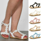 Womens ladies flat wedge flower t-bar gem diamante summer comfort sandals size