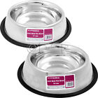 PET BOWL ANTI SKID STAINLESS STEEL DOG CAT FEEDING DRINKING BOWLS