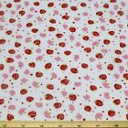 Strawberries and Mushrooms Polycotton Fabric