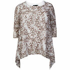 Women's Georgette Printed Ladies Fully Lined Round Neck Long Top PLUS SIZES