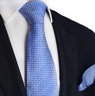Blue Micro-checked Silk Tie and Pocket Square
