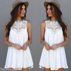 US 2017Women's Lady Lace Sleeveless Mini Dress Shirt Beach BOHO Long Tops Blouse