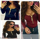 Women Lady Summer Zipper Long Sleeves Top Blouse T-shirt Slim Bodycon T-shirt HX