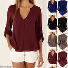 US Hot 2017 Summer Women's Loose Chiffon Tops Long Sleeve Shirt Casual Blouse