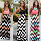 US Womens Summer Bohemia Sleeveless Beach Casual Stripe Long Full Maxi Dress