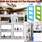 Slide Out 3/4 Tier Storage Tower Rolling Castor Kitchen Trolley Rack Grey/White