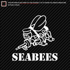 (2x) CB Seabees Sticker united states naval construction forces ncf gold