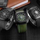 Special Design Black Army Green Leather Mens Squared Quartz Watch NEW! Luxury