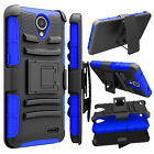 For ZTE Zfive2 Z837VL /Prestige 2 N9136 Hybrid Clip Holster Bumper PC Case Cover
