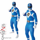Adult Mighty Morphin Blue Power Ranger Fancy Dress Costume 2nd Skin Body Suit