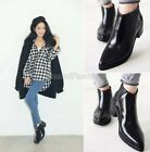 Womens Black Real Leather Pointed Toe Punk Block Mid Heel Ankle Boots Shoes A11