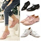 Womens Pointed Toe Mesh Lace Up Flat Oxford Shoes Plus Size Black/Pink/White