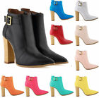 WOMENS FASHION BUCKLE STRAP SIDE ZIP BLOCK HIGH HEEL ANKLE BOOTS SHOES
